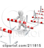 Royalty Free RF Clipart Illustration Of A 3d Blanco Man Knocking Down Hurdles