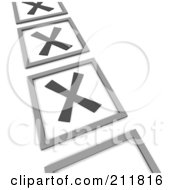 Royalty Free RF Clipart Illustration Of A 3d Check List With X Marks In The Squares