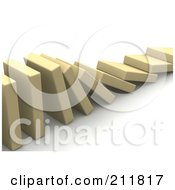 Royalty Free RF Clipart Illustration Of A 3d Row Of Blocks Falling Over by Jiri Moucka