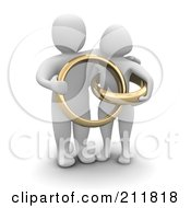 Royalty Free RF Clipart Illustration Of A 3d Blanco Couple With Giant Golden Wedding Rings