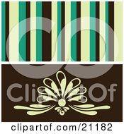 Clipart Illustration Of A Retro Background Of Yellow Green And Black Stipes Over A Floral Design