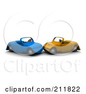 Royalty Free RF Clipart Illustration Of A 3d Car Wreck Between Blue And Orange Cars