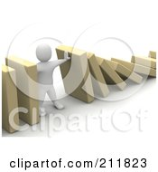 Royalty Free RF Clipart Illustration Of A 3d Blanco Character Holding Up Falling Blocks by Jiri Moucka