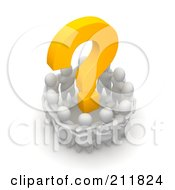 Royalty Free RF Clipart Illustration Of A 3d Circle Of Blanco People Huddled Around A Question Mark by Jiri Moucka