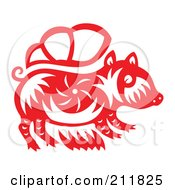 Royalty Free RF Clipart Illustration Of A Red And White Papercut Styled Boar