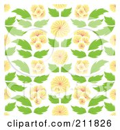 Royalty Free RF Clipart Illustration Of A Background Of Oriental Flowers And Leaves On White by Cherie Reve