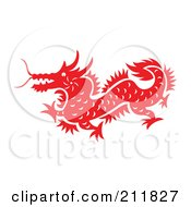 Red And White Papercut Styled Dragon