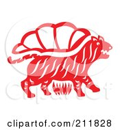 Red And White Papercut Styled Tiger