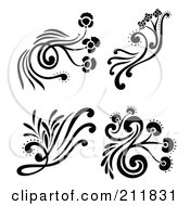 Royalty Free RF Clipart Illustration Of A Digital Collage Of Four Black And White Decorative Floral Design Elements by Cherie Reve