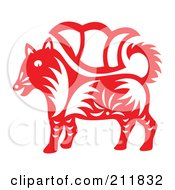 Royalty Free RF Clipart Illustration Of A Red And White Papercut Styled Dog by Cherie Reve