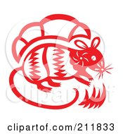 Red And White Papercut Styled Rat by Cherie Reve