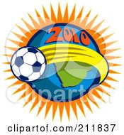 Royalty Free RF Clipart Illustration Of A 2010 Soccer World Cup Ball Around A Globe