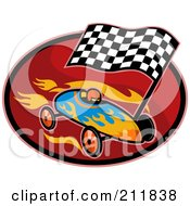 Royalty Free RF Clipart Illustration Of A Race Car And Flag Logo by patrimonio