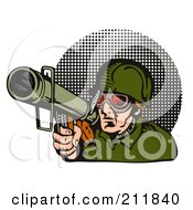 Royalty Free RF Clipart Illustration Of A Soldier Aiming A Bazooka Logo