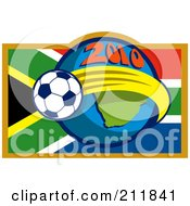 Royalty Free RF Clipart Illustration Of A 2010 Soccer World Cup Ball Around A South Africa Flag And Globe