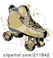 Royalty Free RF Clipart Illustration Of A Roller Skate With Grunge Marks by patrimonio