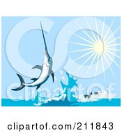 Royalty Free RF Clipart Illustration Of A Leaping Swordfish Near A Boat