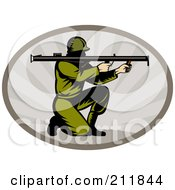 Royalty Free RF Clipart Illustration Of A Soldier Shooting A Bazooka Logo