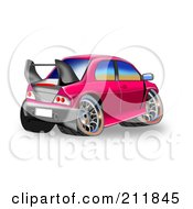 Royalty Free RF Clipart Illustration Of A Cute Pink Car With A Spoiler