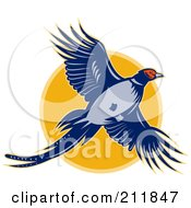Royalty Free RF Clipart Illustration Of A Flying Pheasant Logo by patrimonio