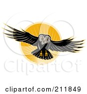 Royalty Free RF Clipart Illustration Of A Flying Owl Logo by patrimonio