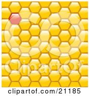 Yellow Honeycomb Background With One Red Filled Space by elaineitalia