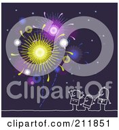 Royalty Free RF Clipart Illustration Of A Stick Family Watching Fireworks