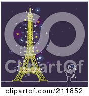 Royalty Free RF Clipart Illustration Of A Stick Man Watching The Eiffel Tower At Night by NL shop