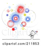 Royalty Free RF Clipart Illustration Of A Stick Man Waving A Flag And Watching Fireworks by NL shop