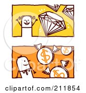 Royalty Free RF Clipart Illustration Of A Digital Collage Of Stick Business Men With Diamonds And Coins by NL shop