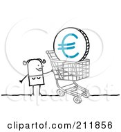 Stick Woman Pushing A Euro Coin In A Shopping Cart