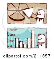 Royalty Free RF Clipart Illustration Of A Digital Collage Of Stick Business Men With A Pie Chart And Bar Graph by NL shop