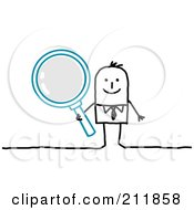 Royalty Free RF Clipart Illustration Of A Stick Businessman Holding A Magnifying Glass
