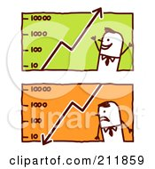 Royalty Free RF Clipart Illustration Of A Digital Collage Of Stick Business Men With Graphs by NL shop
