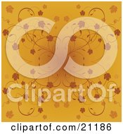 Clipart Illustration Of An Orange Website Background With Autumn Leaves And Vines With A Dark Center by elaineitalia