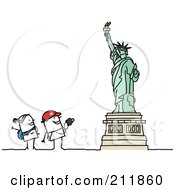 Royalty Free RF Clipart Illustration Of A Stick Tourist Couple Admiring The Statue Of Liberty