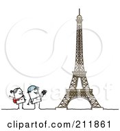 Royalty Free RF Clipart Illustration Of A Stick Tourist Couple Admiring The Eiffel Tower