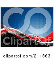 Royalty Free RF Clipart Illustration Of A Patriotic American Background Of Stars And Sparkly Waves by KJ Pargeter