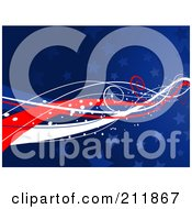 Royalty Free RF Clipart Illustration Of A Patriotic American Background Of Blue Stars And Sparkly Waves