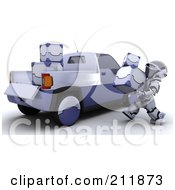 Royalty Free RF Clipart Illustration Of A 3d Silver Robot Loading 3d Metal Boxes Into A Truck by KJ Pargeter