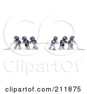 Royalty Free RF Clipart Illustration Of 3d Silver Robots Playing Tug Of War by KJ Pargeter