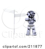 3d Silver Robot Pondering At A Crossroads
