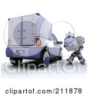 Royalty Free RF Clipart Illustration Of A 3d Silver Robot Loading 3d Metal Boxes Into A Delivery Truck by KJ Pargeter