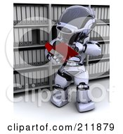 Royalty Free RF Clipart Illustration Of A 3d Silver Robot Reading An Archive by KJ Pargeter