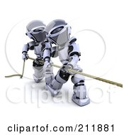 3d Silver Robots Working Together To Play Tug Of War