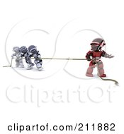 3d Silver And Red Robots Playing Tug Of War