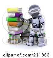 Royalty Free RF Clipart Illustration Of A 3d Silver Robot By A Stack Of Colorful Books by KJ Pargeter