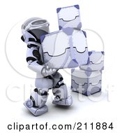 Royalty Free RF Clipart Illustration Of A 3d Silver Robot Moving 3d Metal Boxes by KJ Pargeter