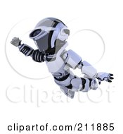Royalty Free RF Clipart Illustration Of A 3d Silver Robot Flying