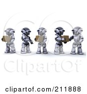 Royalty Free RF Clipart Illustration Of A Team Of 3d Silver Robots Passing Packages Along A Line by KJ Pargeter